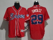 Mens Majestic Mlb Atlanta Braves #29 John Smoltz Red Flex Base Jersey