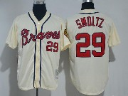 Mens Majestic Mlb Atlanta Braves #29 John Smoltz Cream Cool Base Jersey