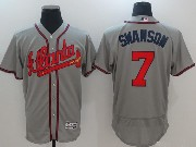 Mens Majestic Mlb Atlanta Braves #7 Dansby Swanson Grey Flex Base Jersey