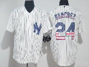 Mens Mlb New York Yankees #24 Gary Sanchez White Usa Flag Pinstripe Cool Base Jersey