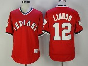 Mens Mlb Cleveland Indians #12 Francisco Lindor Red Pullover Jersey