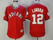 Mens Mlb Cleveland Indians #12 Francisco Lindor Red Pullover Jersey