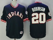 Mens Mlb Cleveland Indians #20 Frank Robinson Navy Blue Pullover Jersey