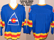 Mens Nhl Colorado Rockies Custom Made Blue Throwbacks Vintage Jersey