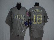 Mens Majestic Mlb Chicago Cubs #18 Zobrist Grey Gold Program Flex Base Jersey
