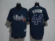 Mens Majestic Mlb Atlanta Braves #44 Hank Aaron Blue Cool Base Jersey