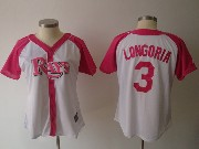 Women  Mlb Tampa Bay Rays #3 Longoria Pink Splash Fashion Jersey