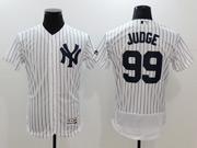 Mens Mlb New York Yankees #99 Aaron Judge White Flex Base Jersey