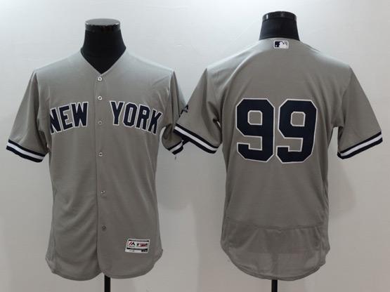 Mens Mlb New York Yankees #99 Aaron Judge Grey Flex Base Jersey
