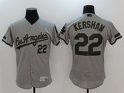 Mens Mlb Los Angeles Dodgers #22 Clayton Kershaw Grey 2017 Memorial Day Flex Base Jersey