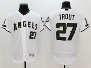Mens Majestic Los Angeles Angels #27 Mike Trout White 2017 Memorial Day Flex Base Jersey