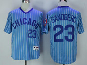 Mens Mlb Chicago Cubs #23 Ryne Sandberg Blue Stripe Pullover Throwbacks Jersey