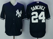 Mens Mlb New York Yankees #24 Gary Sanchez Dark Blue Cool Base Jersey