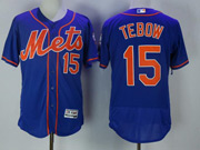 Mens Majestic New York Mets #15 Tim Tebow Blue Flex Base Jersey