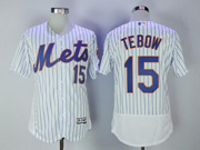 Mens Majestic New York Mets #15 Tim Tebow White Pinstripe Flex Base Jersey