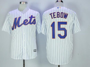 Mens Majestic New York Mets #15 Tim Tebow White Pinstripe Cool Base Jersey
