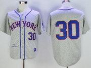 Mens Mlb New York Mets #30 Michael Conforto Gray Throwback Jersey
