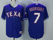 Mens Majestic Mlb Texas Rangers #7 Ivan Rodriguez Blue Cool Base Jersey