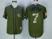 Mens Majestic Cleveland Indians #7 Kenny Lofton Army Green Salute To Service Jersey