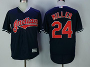 Mens Majestic Cleveland Indians #24 Andrew Miller Navy Blue Cool Base Jersey