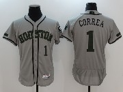Mens Majestic Houston Astros #1 Carlos Correa Grey 2017 Memorial Day Flex Base Jersey