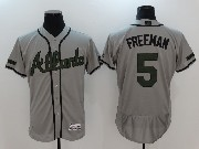 Mens Majestic Atlanta Braves #5 Freddie Freeman Grey 2017 Memorial Day Flex Base Jersey