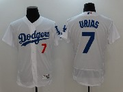 Mens Majestic Los Angeles Dodgers #7 Julio Urias White Flex Base Jersey