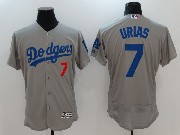 Mens Majestic Los Angeles Dodgers #7 Julio Urias Grey Flex Base Jersey