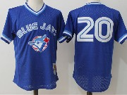 Mens Mitchell&ness Mlb Toronto Blue Jays #20 Josh Donaldson Blue Pullover Throwback Mesh Jersey