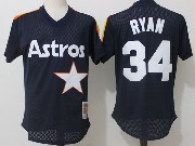 Mens Mitchell&ness Mlb Houston Astros #34 Ryan Dark Blue Pullover Throwback Mesh Jersey Fs