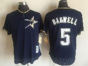 Mens Mitchell&ness Mlb Houston Astros #5 Jeff Bagwell Dark Blue Pullover Throwback Mesh Jersey