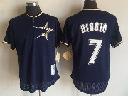 Mens Mitchell&ness Mlb Houston Astros #7 Craig Biggio Dark Blue Pullover Throwback Mesh Jersey