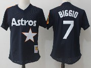 Mens Mitchell&ness Mlb Houston Astros #7 Craig Biggio Dark Blue Pullover Throwback Mesh Jersey Fs