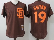 Mens Mitchell&ness Mlb San Diego Padres #19 Tony Gwynn Brown Pullover Throwback Mesh Jersey