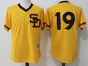 Mens Mitchell&ness Mlb San Diego Padres #19 Tony Gwynn Yellow Pullover Throwback Mesh Jersey