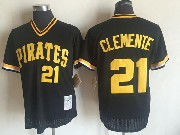 Mens Mitchell&ness Mlb Pittsburgh Pirates #21 Roberto Clemente Black Throwbacks Pullover White Jersey