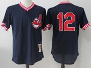 Mens Mlb Cleveland Indians #12 Francisco Lindor Navy Blue Pullover Throwback Jersey