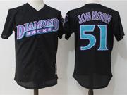 Mens Mlb Arizona Diamondbacks #51 Randy Johnson Black Throwback Mesh Jersey