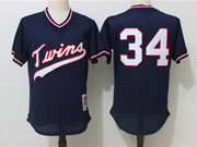 Mens Mlb Minnesota Twins #34 Puckett Navy Blue Pullover Throwback Mesh Jersey