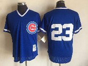 Mens Mlb Chicago Cubs #23 Ryne Sandberg Blue Pullover Throwback Mesh Jersey