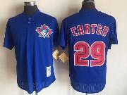 Mens Mlb Toronto Blue Jays #29 Joe Carter Blue Pullover Throwback Mesh Jersey