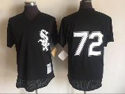 Mens Mlb Chicago White Sox #72 Carlton Fisk Black Throwbacks Pullover Mesh Jersey
