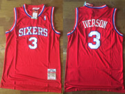 Mens Nba Philadelphia 76ers #3 Allen Iverson Red Soul Swingman Jersey