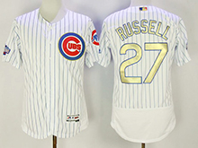 Mens Majestic Mlb Chicago Cubs #27 Addison Russell White 2017 Gold Program Flex Base Player Jersey