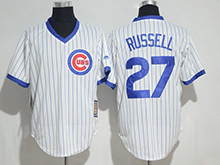 Mens Mlb Chicago Cubs #27 Addison Russell White Cool Base Pullover Jersey