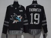 Menssan Jose Sharks #19 Joe Thornton Black 100 Anniversary Adidas Jersey