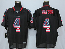 Mens Houston Texans #4 Deshaun Watson Black Usa Flag Fashion Elite Jersey