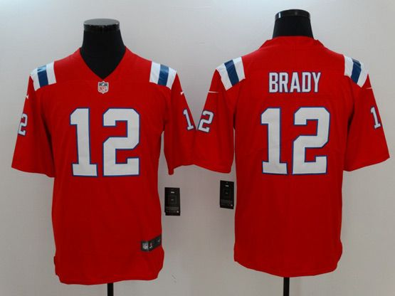 Mens New England Patriots #12 Tom Brady Red Vapor Untouchable Limited Jersey