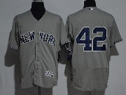 Mens Majestic New York Yankees #42 Mariano Rivera Grey Flex Base Jersey