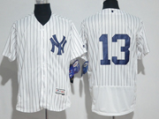 Mens Majestic New York Yankees #13 Alex Rodriguez White Flex Base Jersey